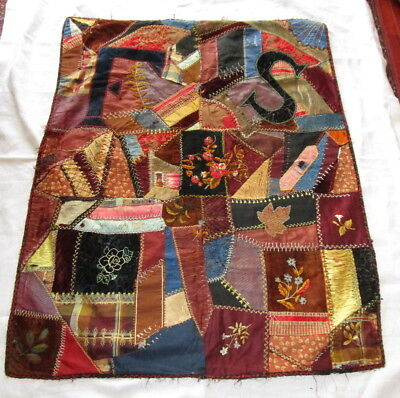 "Antique CRIB CRAZY QUILT dated 1880 ~ INITIALS 42"" x 34"" ~ beautiful stitching"