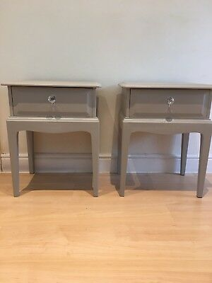 Vintage 1980's Stag Minstrel Pair of One Drawer Bedside Tables, LA French Grey