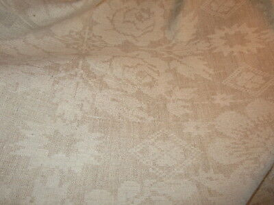 Antique COVERLET dated 1838 Dauphin County Penna ~ hand woven BIRDS FLORAL 72x52