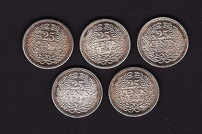 Netherlands 25 cents Coins 1944 Silver x 5