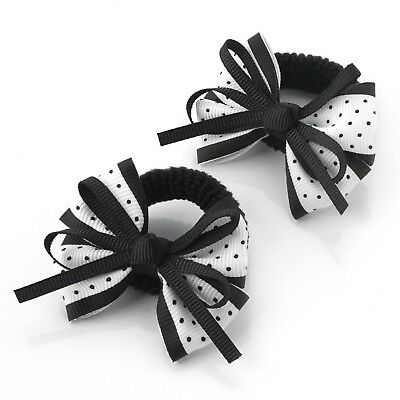 Hair bows Baby toddler small dot Ribbon ponio set-2 soft safe stretch tiny Bows