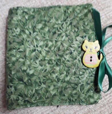 Quilted Handmade Needle Book Green Royal Horticultural Fabric wooden cat button