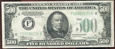 500 Five Hundred Dollar Bill Currency Old Note