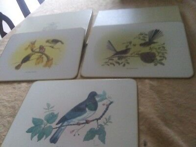 Set Of 3 Jason Placemats Birds New Zealand In Box Cork Backed Euc
