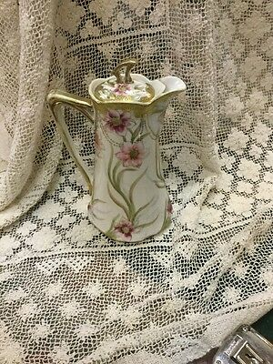 "Vintage Hand Painted Nippon Tea Pot / Chocolate Pot 9 1/2"" Tall. Chik USA"