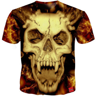 New Fashion Womens/Mens Skull Scared Funny 3D Print Casual T-Shirt