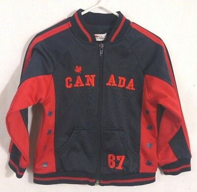 """Northern Vibe Kids Track Jacket """"Canada 67"""" Blue Red Zip Up Embroidered Size 18M"""