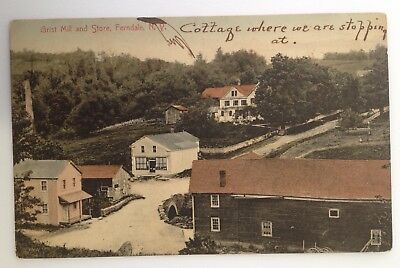 1907 Ferndale NY Vintage Postcard Grist Mill and Store