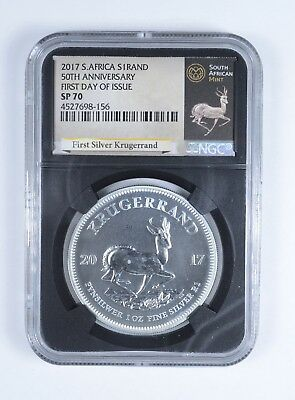 2017 South African Krugerrand 1 Oz Silver 1 Rand NGC SP-70 FDI *759