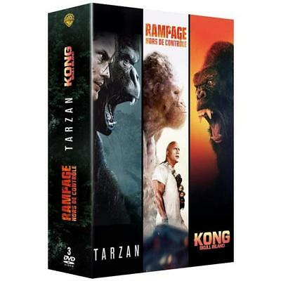 DVD Coffret Action Grands singes - Collection de 3 films - Rampage / Tarzan / Ko