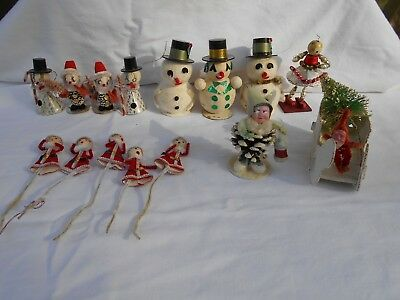 Lot of Vintage Christmas Pine Cone Gnome Elves Snowman Ornaments Figurines