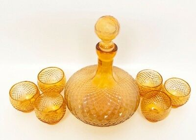 Vintage Italian Glass Decanter and Cordials Amber Glass Carafe Made in Italy