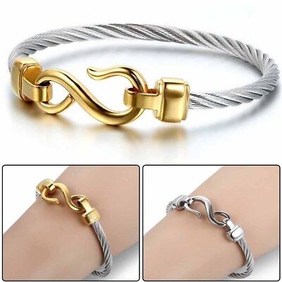 Love Infinity Symbol Charm Stainless Steel Cable Cuff Bangle Bracelet Jewelry