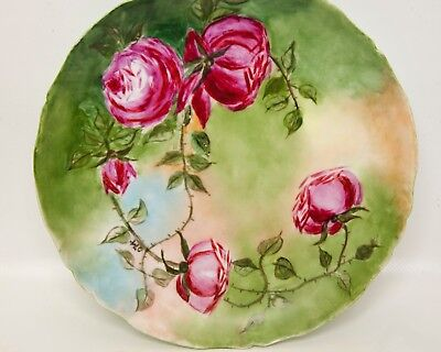 Antique J P L Jean Pouyat Limoges France Plate Hand Painted Pink Roses 1900-1909