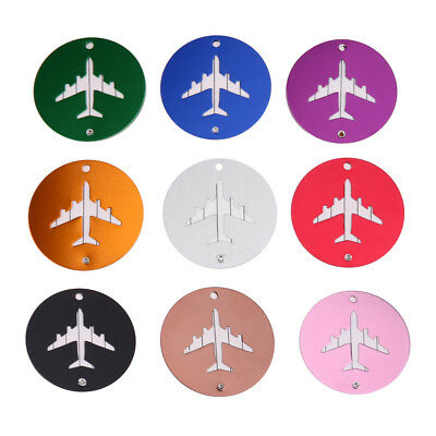 Round Aluminum Alloy Luggage Suitcase Name Tag Label w/ Strap Travel Accessory