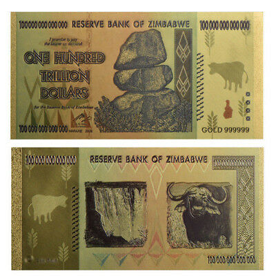 Zimbabwe 100 Trillion Dollars Banknote Color Gold Bill World Money Collection TP