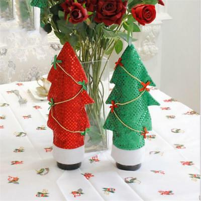 Christmas Tree Shape Wine Holiday Bottle Covers Dinner For Xmas Party Gift JJ