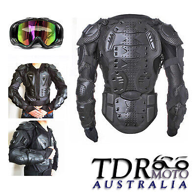 Adult's Black Motorcycle Protective Racing Body Armour/Armor Tinted MX Goggles