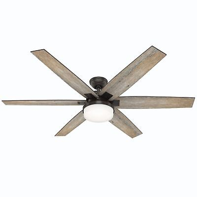 "Hunter 64"" Industrial Rustic Noble Bronze Remote LED Light Ceiling Fan"