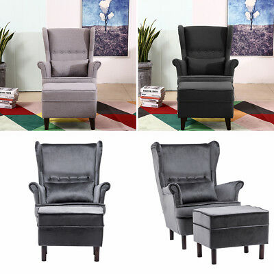 WINGED FIRESIDE LOUNGE FABRIC ARMCHAIR QUEEN SOFA CHAIR With Footstool + Cushion