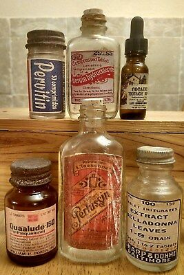 Old Medicine Bottle Hand Crafted,Quaalude,Bayer w/Heroin,Pervitin,Cocaine Tooth