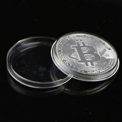 Silver Physical Bitcoin in protective acrylic case HOT SELLING!