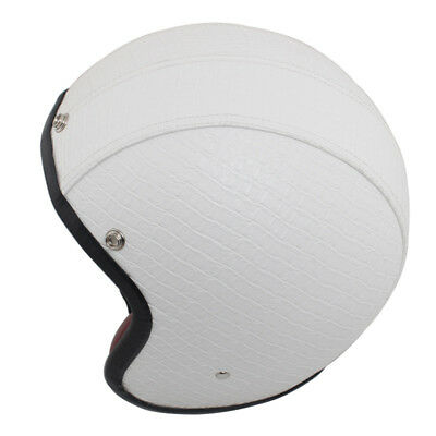 White Open Face Motorcycle Helmet PU Leather Safety Scooter ATV Off Road Bobber