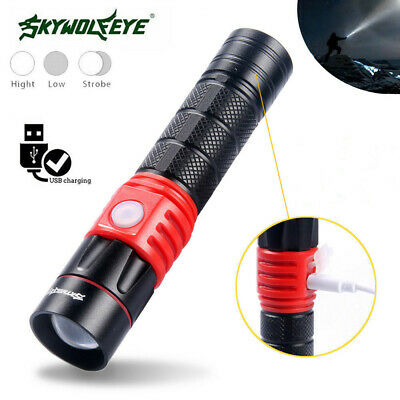 5000LM XML T6 USB Rechargeable LED Flashlight 3Modes Zoom Portable 18650 Torch