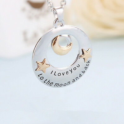 New I Love You To The Moon and Back Pendant Necklace Family Member Cute Gift _S