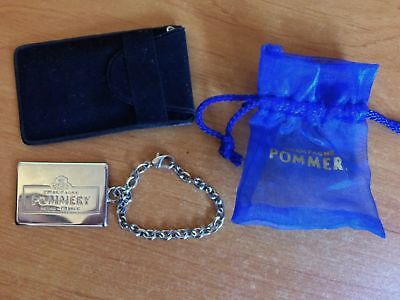 Porte Cles Metal Argentee Champagne Pommery Neuf Sous Etui
