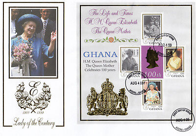 (74215F) Ghana FDC Queen Mother 99 Years Lady of Century Accra 4 Aug 1999 large