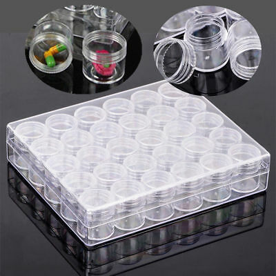 Clear Container Jars Bead Storage Rectangle Round Plastic 30 Case Portable Box