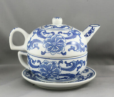 Stunning Vintage Chinese Hand Painted Porcelain Teapot & Matching Cup & Saucer
