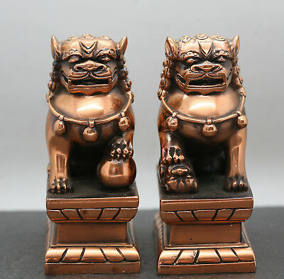 A Pair Of Vintage Very Heavy  Chinese Copper Fu Dogs Made In Taiwan