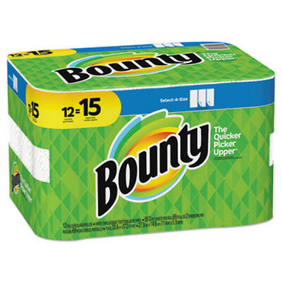 Bounty 74850 Select-A-Size 2-Ply Paper Towels, White, 69-Sheet, 12 Large Rolls