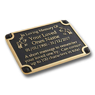Personalised Memorial Angels Metal Brass Plaque For Memory Of A Loved One