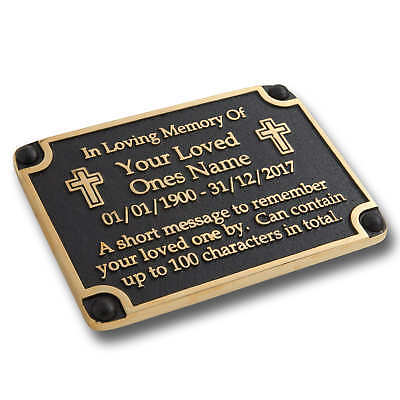 Personalised Memorial Cross Metal Brass Plaque For Memory Of A Loved One
