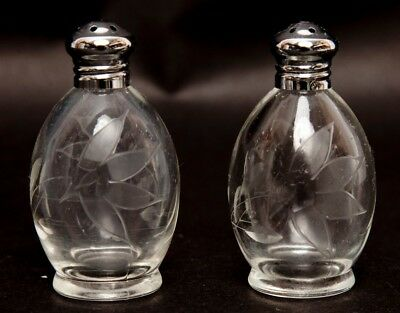 Vintage IRICE Cut Glass Crystal Salt and Pepper Shakers Flower Design Individual