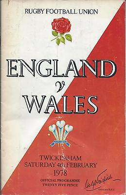 England v Wales 1978 Five / 5 Nations Programme Rugby Union - Grand Slam