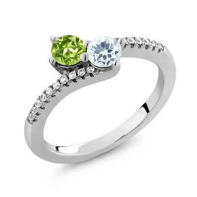 0.76 Ct Green Peridot Sky Blue Aquamarine Two Stone 925 Sterling Silver Ring