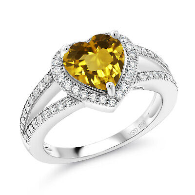 2.11 Ct Heart Shape Yellow Citrine 925 Sterling Silver Ring