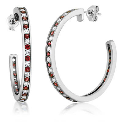 1.50 Inch Beautiful 925 Silver Red Garnet & White Created Sapphire Hoop Earrings