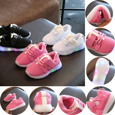 Kids Running Shoes Sneakers LED Light Up Luminous Sport Trainer Baby Boys Girls
