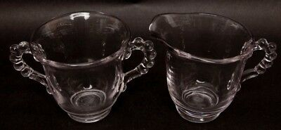 Antique Candlewick Sugar Bowl and Creamer Set Imperial Glass Co Clear Glass Bead