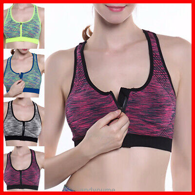 Women's High Impact Front Zip Wireless Padded Cup Top Gym Active Sports Bra New