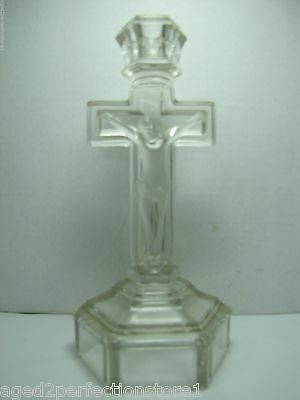 Antique Glass Crucifix Candlestick detailed clear glass Jesus Cross INRI