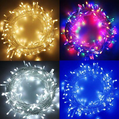 100-500 LED String Fairy Lights on Clear Cable for Christmas Tree Party Wedding