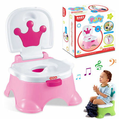 Pink 3in1 Baby Kids Children Toddler Potty Toilet Training Trainer Musical Seat