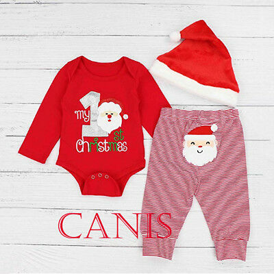 US My First Christmas Baby Boys Girls Santa Romper Pants Hat PJs Outfits Clothes
