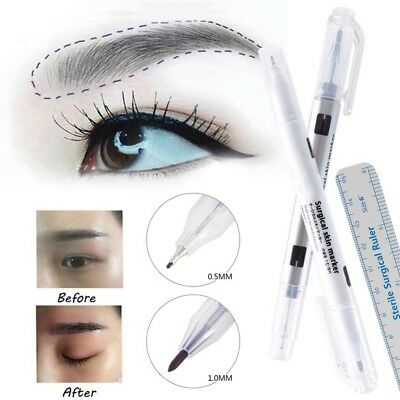 Dual Eyebrow Tattoo Pen- Microblading Surgical Skin Thick Thin Marker Plus Ruler
